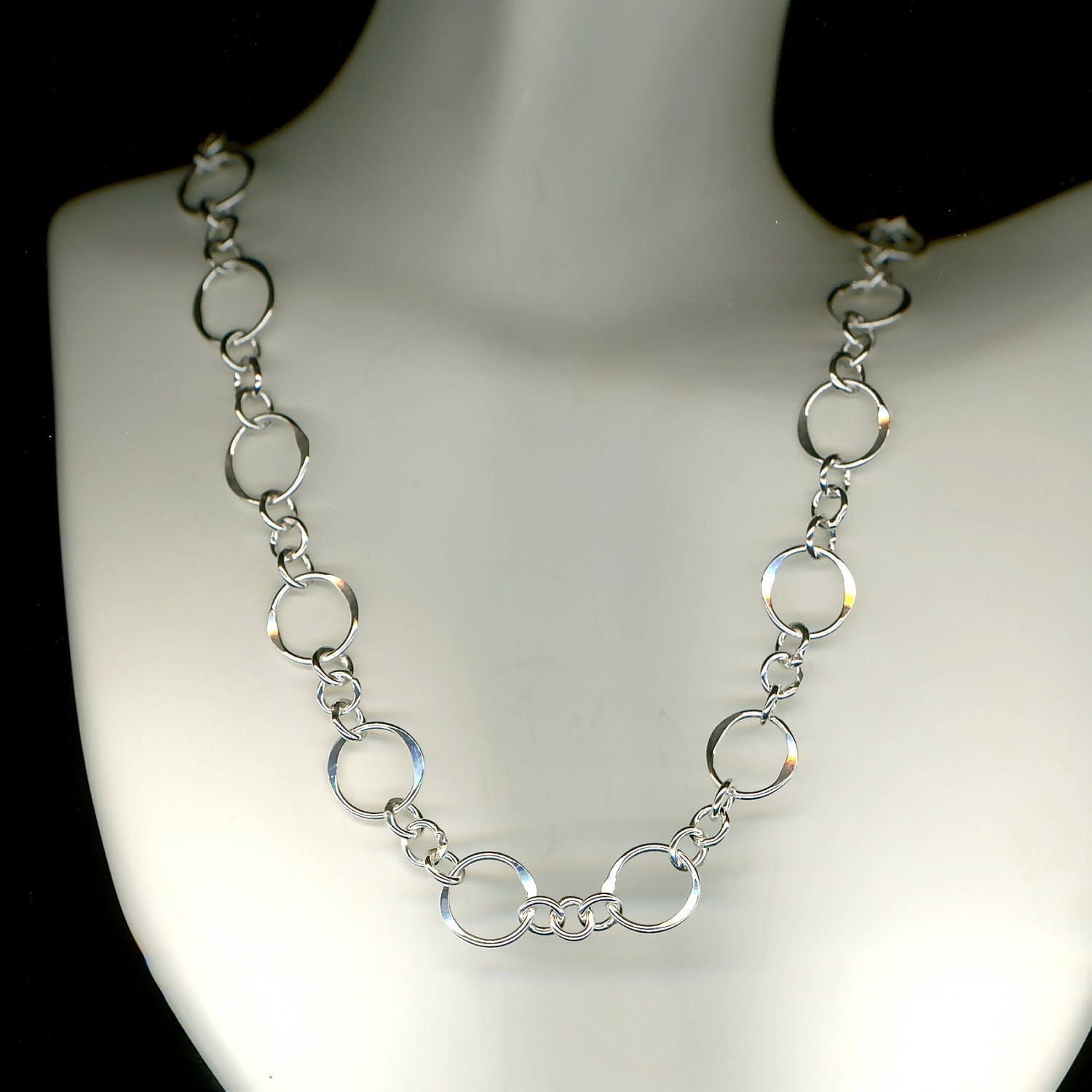 circle chain sterling silver necklace hammered link circles