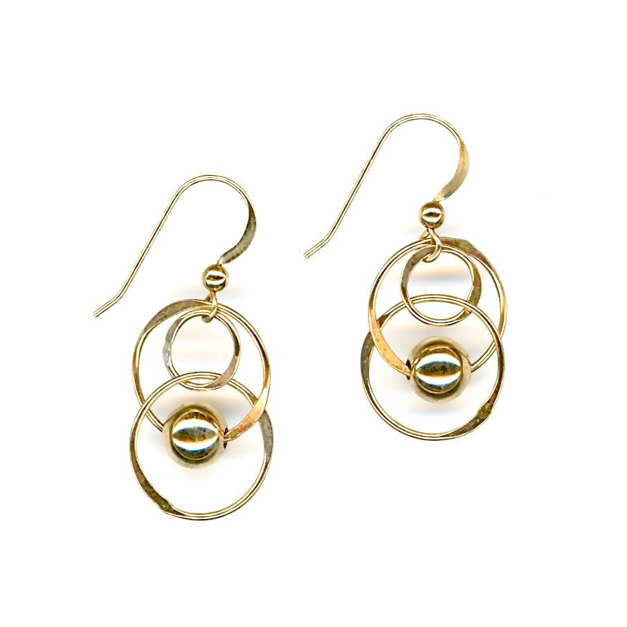 gold hammered hoop chain link earrings gold by wvworksjewelry