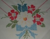 "Vintage Floral Red, White & Blue Embroidered Tablecloth - 44"" x 49"""