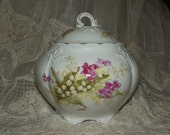 Victorian Biscuit Jar, Dresser Jar - Lily-of-the-Valley and Violets