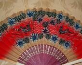 Vintage Paper Hand Fan - Handpainted - Flowers, 2 Scenes