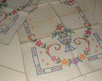 3 Vintage Cross-Stitched Table Runners - Floral