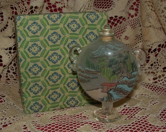 Vintage Reverse Handpainted Snuff Bottle - Mountain village scenes - with fabric covered box