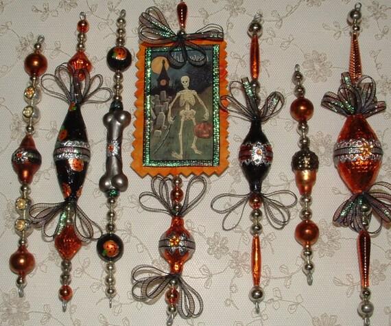 Item Vintage Inspired HALLOWEEN Ornament Set of 7 - SKELETON - Mercury Glass Bead Icicles - Black, Orange