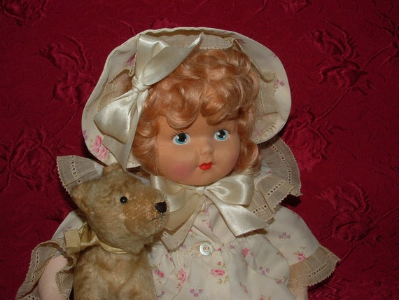 "All Original - 16"" Vintage 1920's Oilcloth Doll with Mohair Wig, Painted cloth face"