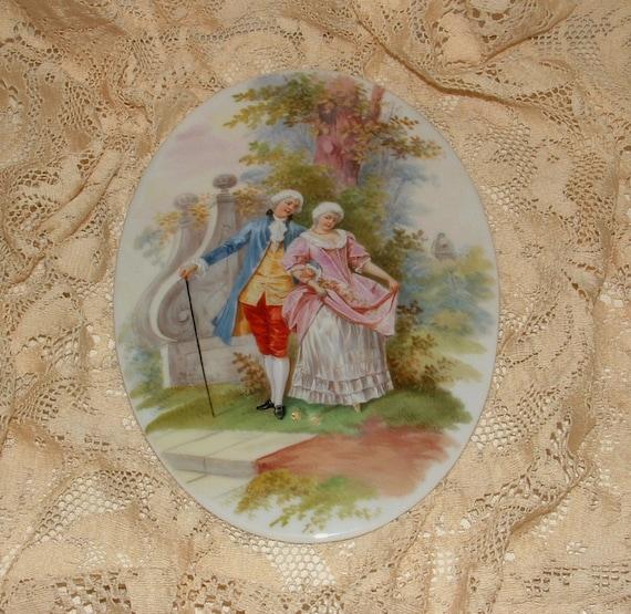 """10"""" by 7"""" Vintage Handpainted Porcelain Plaque"""
