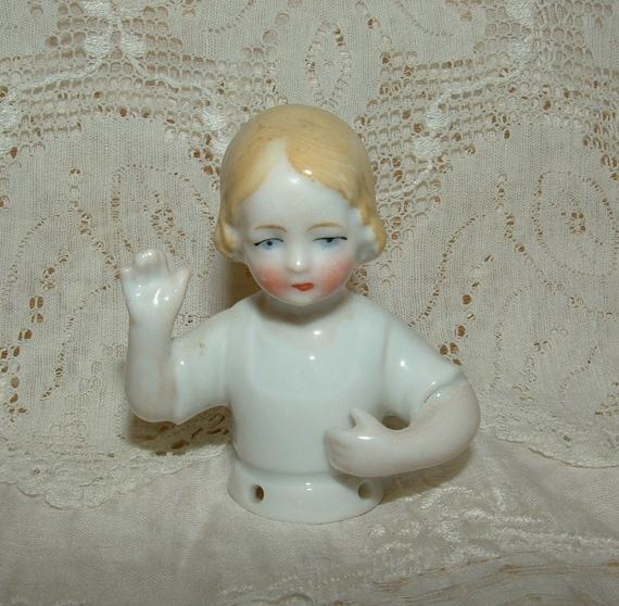 Antique German Young Girl Half Doll, Pin Cushion Doll