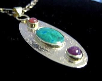 Pendant - Chrysocolla Malachite and Ruby Cabochons in 14 Karat Gold