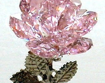 Crystal Rose made with Swarovski Crystal - Pink Crystal Rose