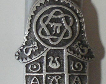 Chamsa Pewter Mezuzah made with Swarovski Crystal - Mezuzah For The Door