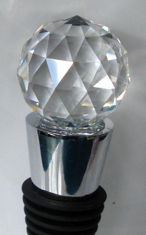 Wine Stopper made with Swarovski Crystal - Ball - wedding favor - bottle stopper crystal