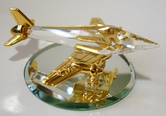 Crystal Airplane Made with Swarovski Crystal