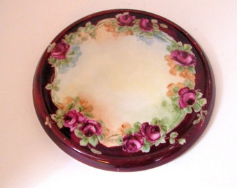 Antique Porcelain Trivet - Brown with Raspberry Roses