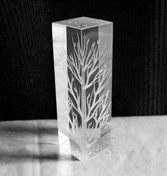 Crystalline Entity Tree Etched on Acrylic by Galvan