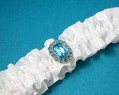Wedding Garter, Bridal Garter, Boudoir Garter, Prom Garter  - Simple Something Blue Gem Bridal White Garter SINGLE