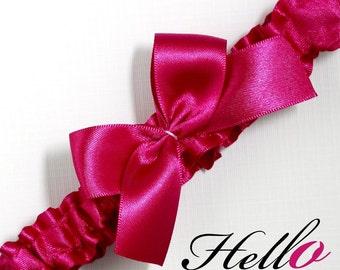 Wedding Garter, Bridal Garter, Boudoir Garter, Prom Garter -  Azalea Fuchsia Pink Garter - Other COLORS Also Available - MED/LG