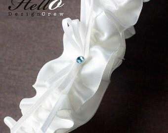 Wedding Garter, Boudoir Garter, Bridal Garter, Prom Garter - Bridal White and Something Blue SINGLE