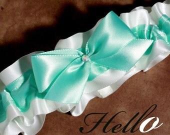 Wedding Garter, Boudoir Garter, Bridal Garter, Prom Garter - Aqua Pool Garter SINGLE