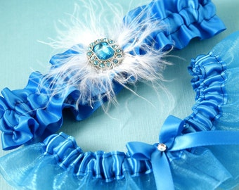 Wedding Garter Set, Bridal Garter Set, Boudoir Garter Set, Prom Garter - Turquoise Something Blue SET