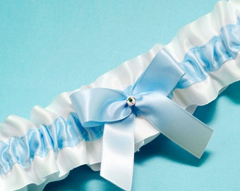 Wedding Garter, Boudoir Garter, Bridal Garter, Prom Garter - Simple Something Baby Blue Garter SINGLE