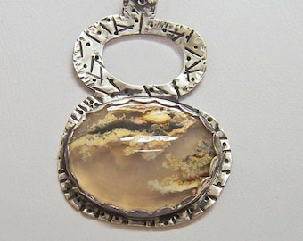 Necklace-Pendant-Sterling Silver With Plume Agate