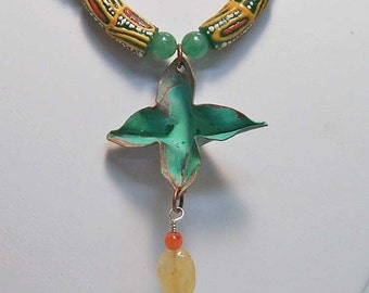 Necklace-Copper Foldformed Star with African Glass Beads, Carnelian, and Aventurine