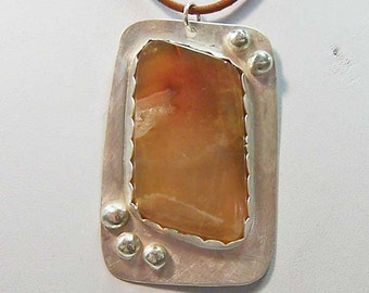Necklace- Agate Rhombus Cabochon in Sterling Silver