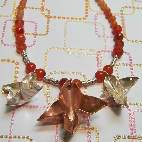 Necklace- Copper and Sterling Silver Foldformed Stars, Carnelian, and Pink Aventurine