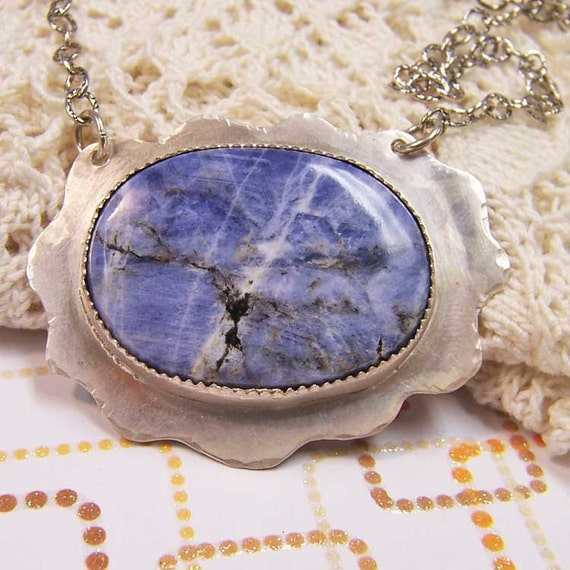 Necklace-Sodalite Cabochon and Sterling Silver