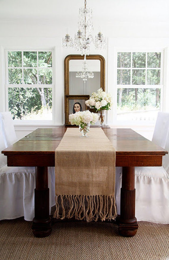 Burlap Table Runner - Hand Knotted