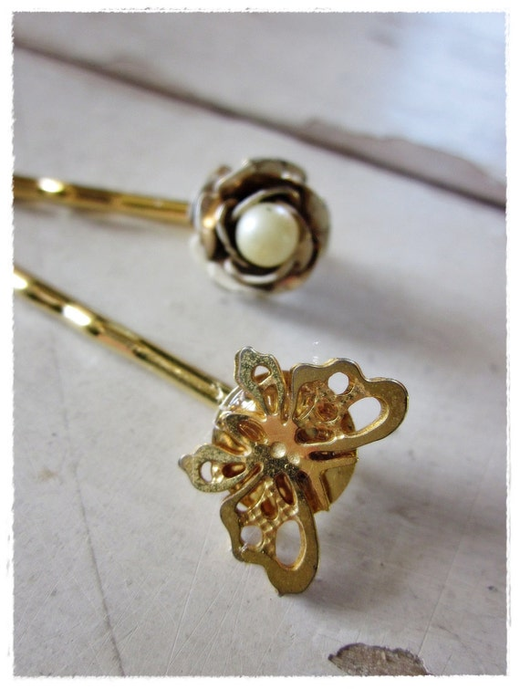 Vintage Garden Hair Pin Pair, Rose and Butterfly,Gold Shabby and Chic Upcycled Bobby Pins