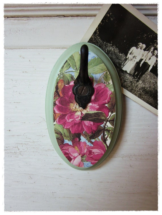 Floral Wall Hook, Romantic Boho Home Decor, Upcycled Jewelry Organizer