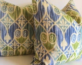 Set of Two - Ikat Pillows - 20 inch - Decorative Pillow  - Waverly - Sheraton Ikat - Chartreuse - Blue - Taupe