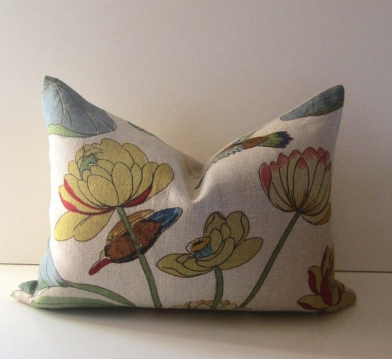 Lee Jofa - Nympheus Multi - 14 X 20 inch - Decorative Pillow Cover - Birds Flowers- Floral Pattern - Natural Linen