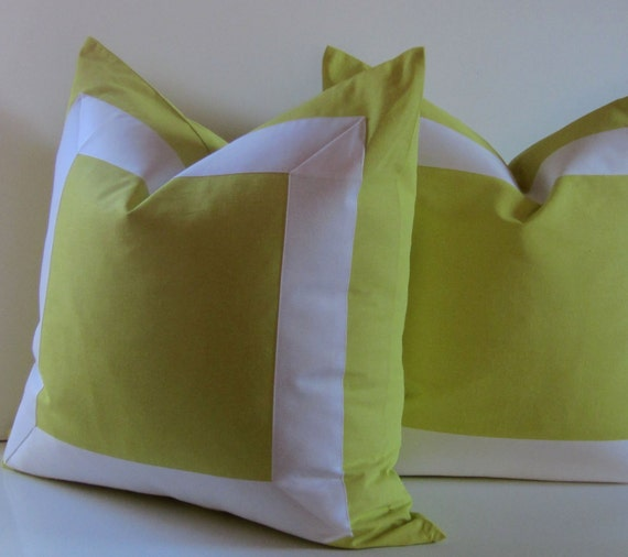 Set of Two - Citron pillows - 20, 22 or 24 inch - Decorative Pillow - white ribbon embellishment - neon bright - made to order
