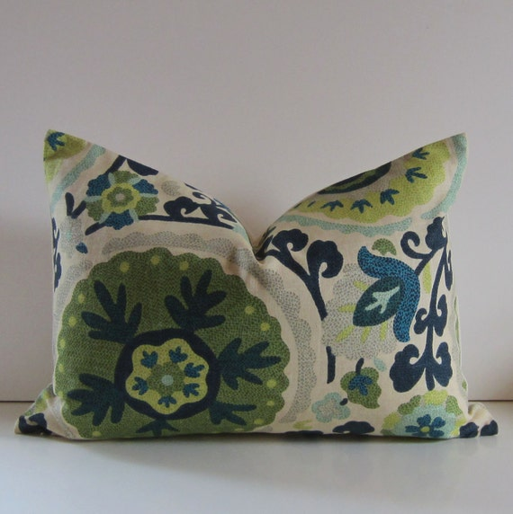 Decorative Pillow - 14 x 20 inch Pillow - Suzani pillow - lumbar - green - blue - citron - aqua - folk - ready to ship