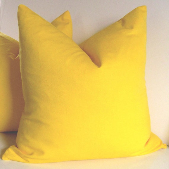 Yellow Pillow Cover - 20 inch -   Decorative Pillow -  Bright Yellow - cotton - sunshine - ready to ship