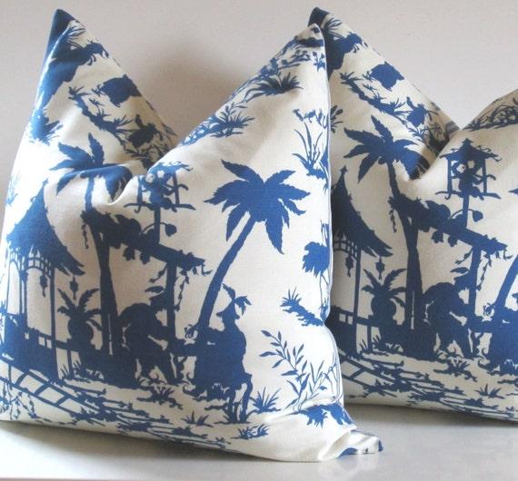 Set of Two - Chinoiserie Pillow Covers - 22 X 22 inch - Decorative Pillows -  Blue - Cream - Robert Allen - Williamsburg - Canton Bazaar