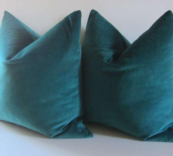 Set Of Two Teal Pillows Decorative Pillow Cover 20 Inch