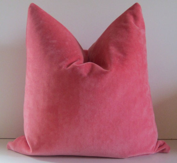 Coral pillow - Decorative Pillow Cover -  20 inch - designer quality - pink coral - watermelon - heavy weight velvet - ready to ship