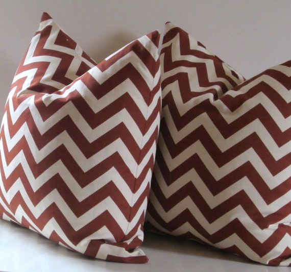 Set of Two - Chevron Pillows - 20 inch - Rust and Natural Cotton - decorative pillows - ready to ship