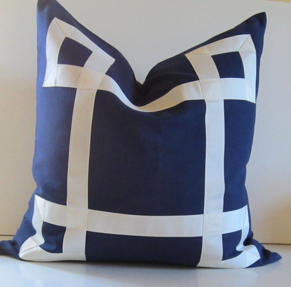 items similar to navy blue pillow 19 to 26 inches decorative pillow cover white ribbon. Black Bedroom Furniture Sets. Home Design Ideas