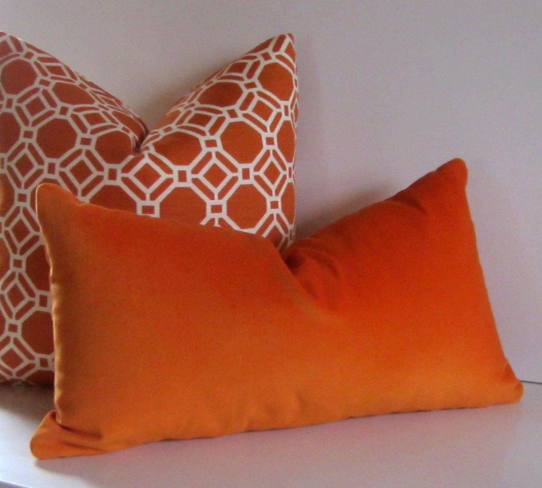 Orange velvet 12 X 22 inch Decorative Pillow lumbar