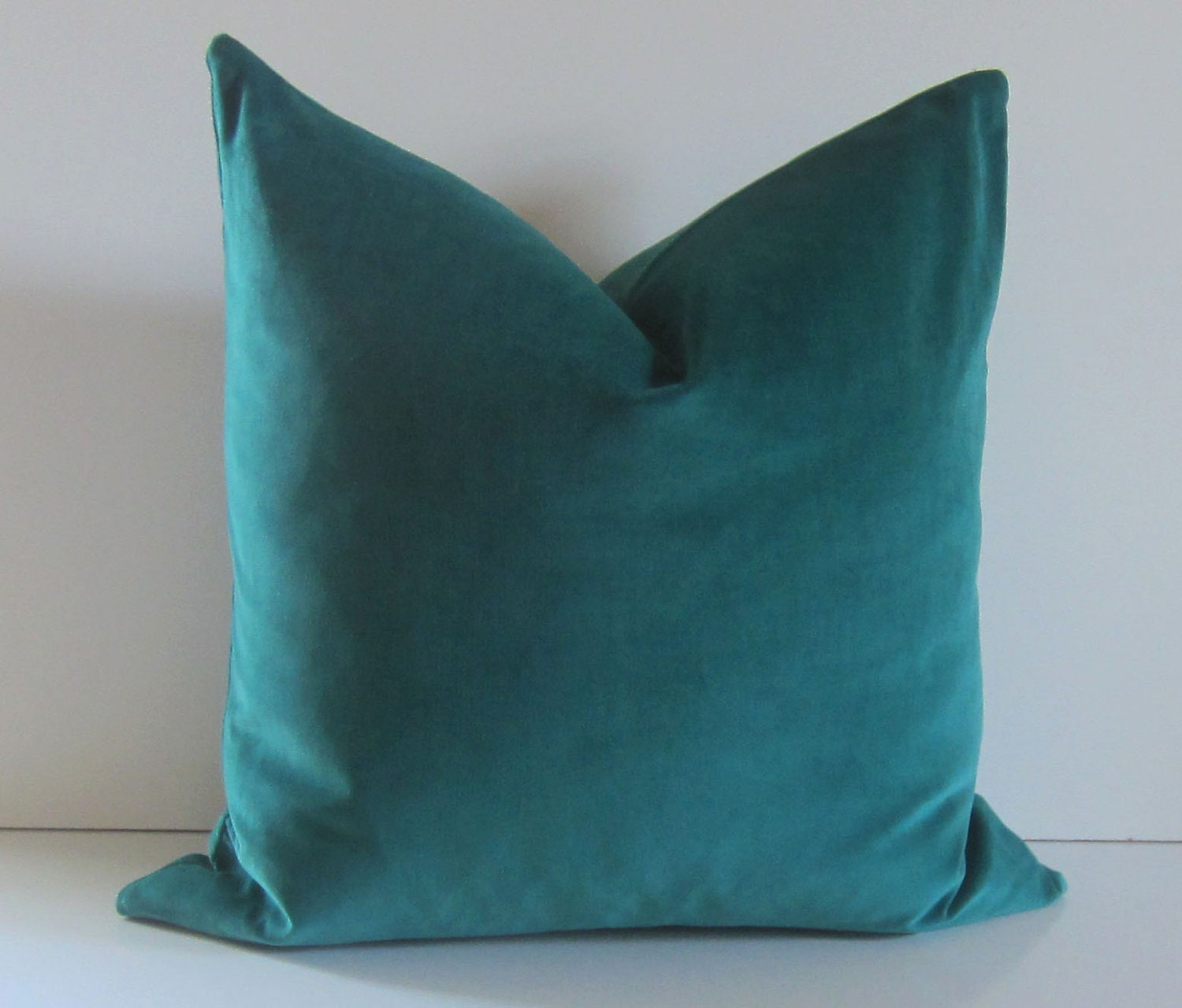Throw Pillow Covers Set : Decorative Pillow Cover 20 inch teal velvet cotton