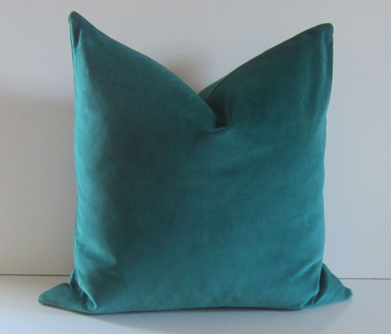 Teal Decorative Bed Pillows : Decorative Pillow Cover 20 inch teal velvet cotton