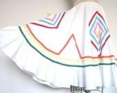 Vintage Cotton Rainbow Trim White Skirt