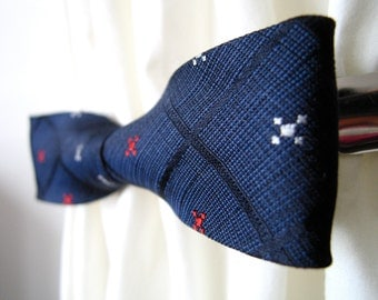 Navy and Black Grid Stripe Floral Silk Bow Cinch Clip
