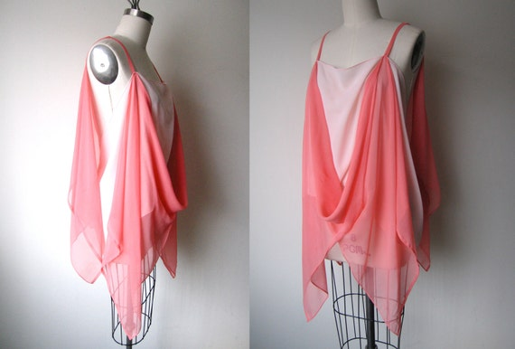Silk Chiffon Coral Sheer Drape Top