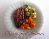 OOAK Sirloin Steak Dinner Meal Entree by Crown Jewel Miniatures - RESTAURANT COLLECTION