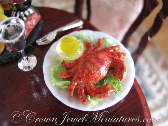 Boiled Crab with Drawn Butter by Crown Jewel Miniatures